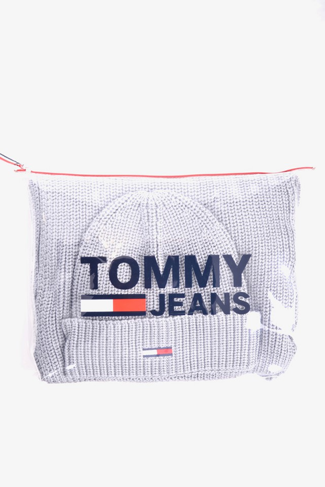 Giftbox CZAPKA + SZALIK BASIC RIB GREY TOMMY JEANS