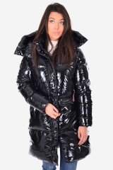 Płaszcz PALMER GLOSSY DOWN COAT BLACK TOMMY HILFIGER