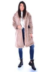 Płaszcz NAVY FAUX FUR COAT BEIGE GUESS