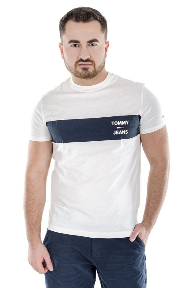 T-shirt CHEST STRIPE LOGO TEE WHITE TOMMY JEANS