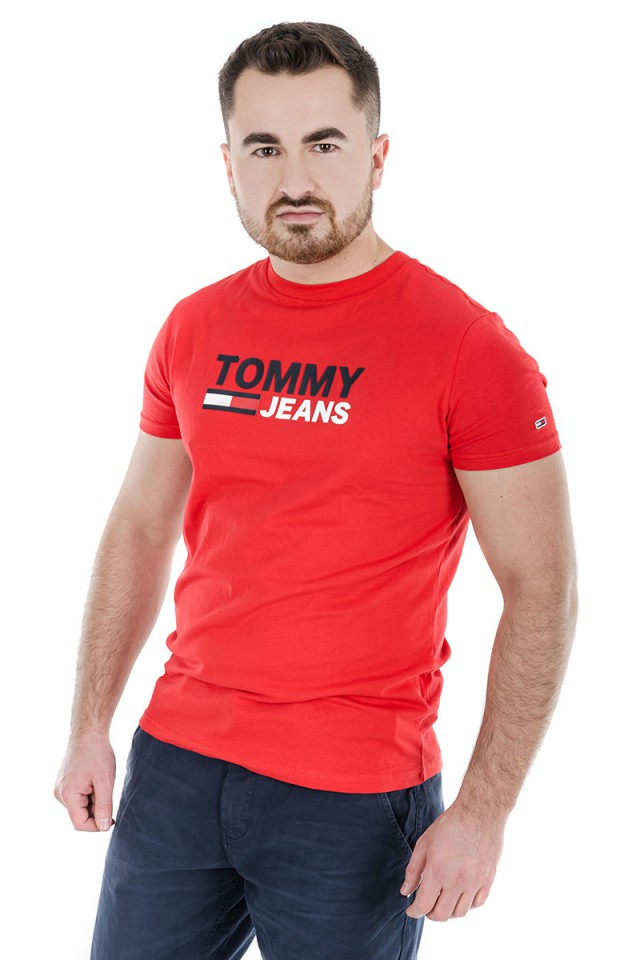 T-shirt CORP LOGO TEE WHITE TOMMY JEANS