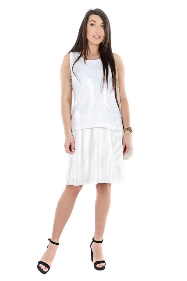 Sukienka PAILLETTES WHITE TRUSSARDI JEANS