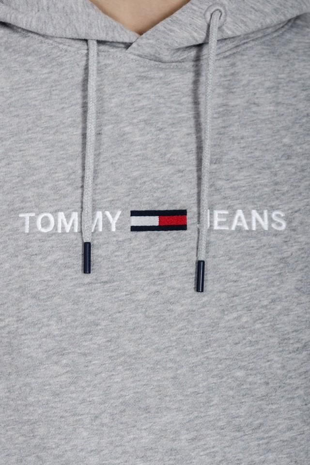 Bluza wkładana z kapturems szara STRAIGHT LOGO HOODIE TOMMY JEANS