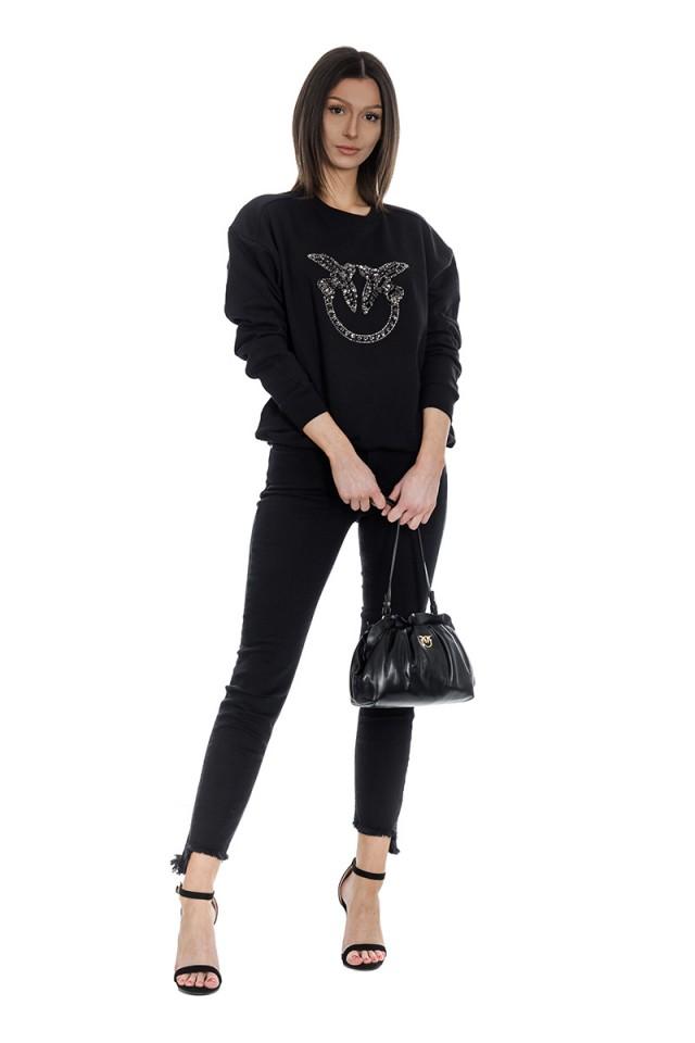 Bluza wkładana z logo czarna PINKO