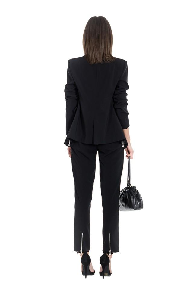 Spodnie materiałowe z ozdobnymi zamkami z logo czarne PATRIZIA PEPE