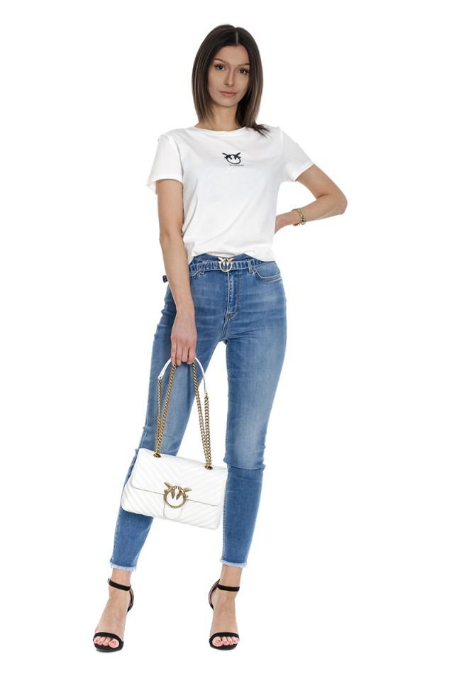 Spodnie jeansowe z wyższym stanem oraz paskiem SUSAN 12 SKINNY PINKO