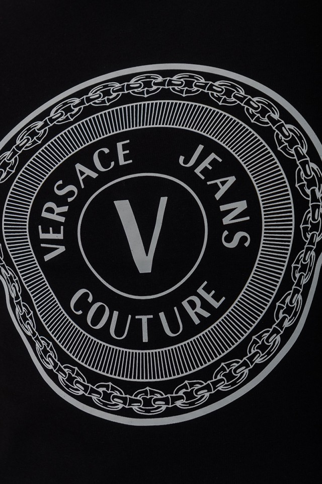 T-shirt czarny SLIM ROUND VERSACE JEANS COUTURE