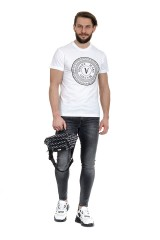 T-shirt biały SLIM ROUND VERSACE JEANS COUTURE