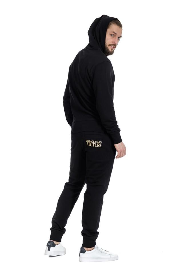 Bluza z kapturem z logo czarna VERSACE JEANS COUTURE