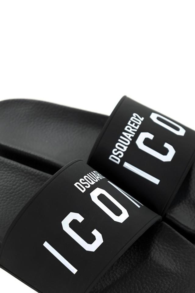 Klapki czarne z logo DSQUARED2