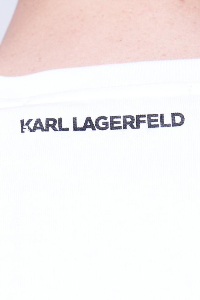 T-shirt z klasycznym logo biały KARL LAGERFELD
