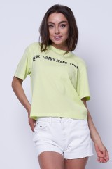 T-shirt limonkowy BOXY CROP TAPE TOMMY JEANS