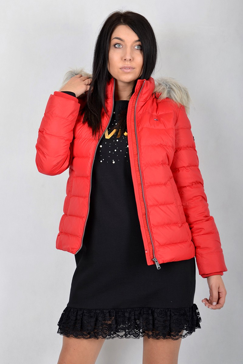 70936c8622f96 Tommy Jeans Kurtka TJW ESSENTIAL HOODED RED TOMMY JEANS - Butik ...