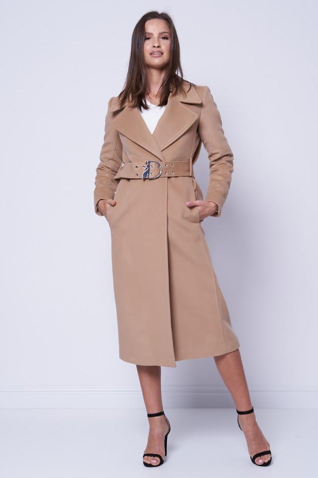 Płaszcz z ozdobnym paskiem beżowy PATRIZIA PEPE