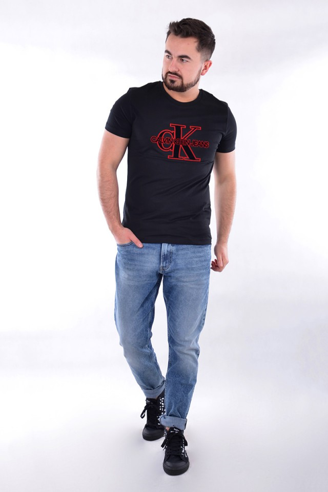 T-shirt MONOGRAM FRONT LOGO BLACK CALVIN KLEIN JEANS