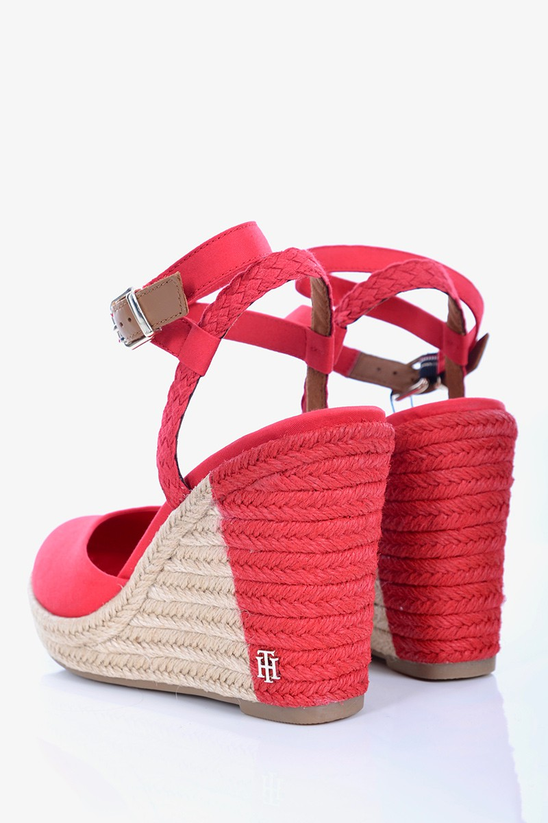 30ebbada39823 Tommy Hilfiger Espadryle PRINTED CLOSED TOE WEDGE SANDAL RED TOMMY ...