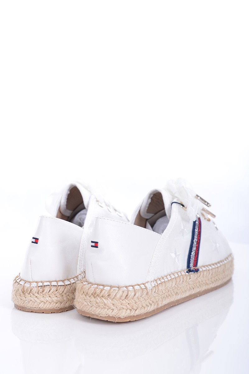 571b63818aed3 Tommy Hilfiger Espadryle FLAT ESPADRILLE CORPORATE RIBBON WHITE ...