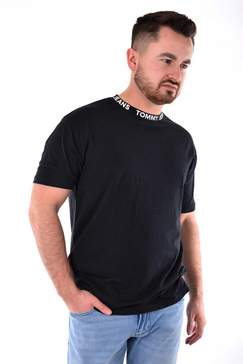 30c4587b4f383 T-shirt HEATHER BRANDED COLLAR TEE BLACK TOMMY JEANS ...