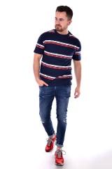 T-shirt TJM SIGNATURE STRIPE LOGO BLACK IRIS MULTI TOMMY JEANS