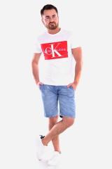 T-shirt MONOGRAM BOX LOGO SLIM SS TEE WHITE/RED CALVIN KLEIN JEANS