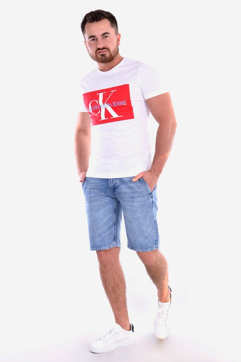 17d444a35cd9f ... T-shirt MONOGRAM BOX LOGO SLIM SS TEE WHITE/RED CALVIN KLEIN JEANS ...