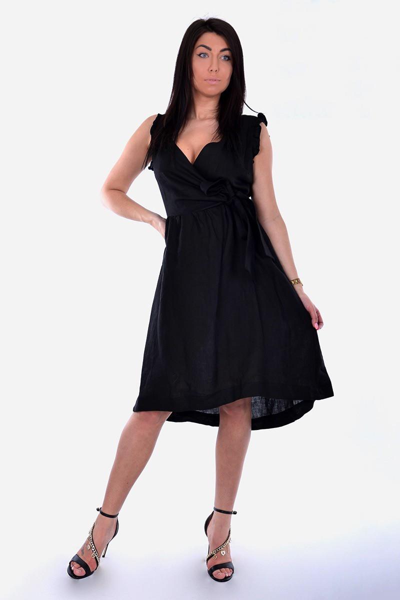 Kaos czarna kopertowa sukienka Femine Nerro Butik Online