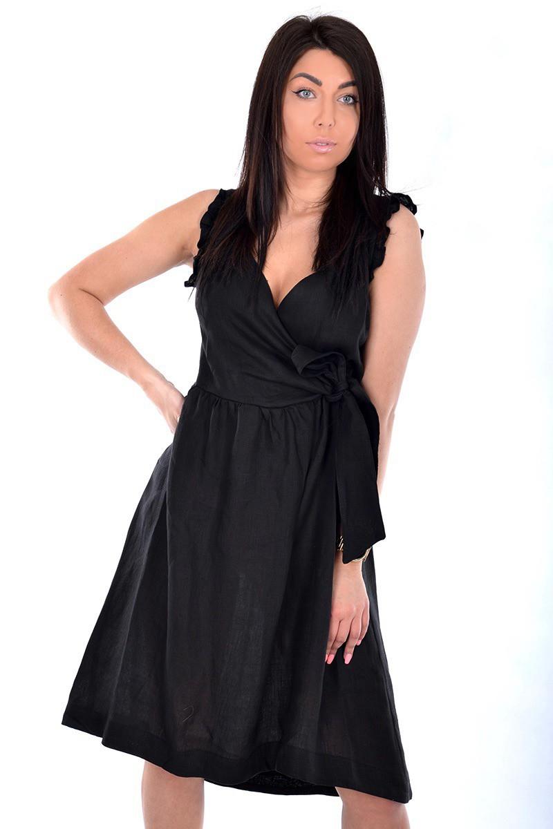 Kaos czarna kopertowa sukienka Femine Nerro Butik Online MAICON