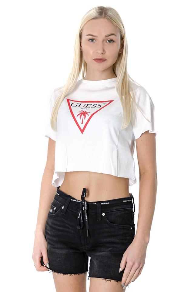 T-shirt CROP PALM BEACH WHITE GUESS