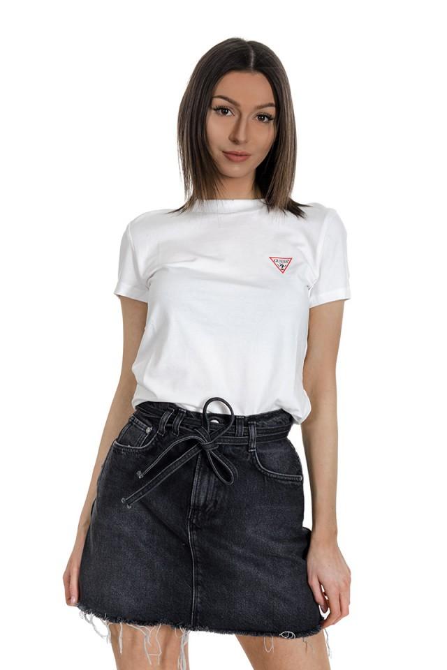 T-shirt z małym logo na piersi biały GUESS
